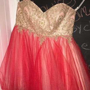 Pink, Red and Gold Fancy Dress